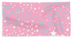 Pink And Turquoise Stars 1 Beach Sheet by Linda Velasquez