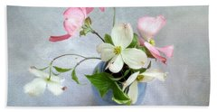 Pink And White Dogwood Still Beach Sheet