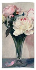 Pink And White Peonies In Glass Trumpet Vase Beach Sheet