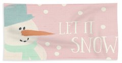 Pink And White Snowman- Art By Linda Woods Beach Towel