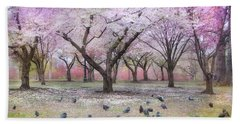 Beach Towel featuring the photograph Pink And White Spring Blossoms - Boston Common by Joann Vitali