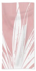 Pink And White Tropical Leaf- Art By Linda Woods Beach Towel