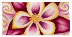 Pink And Yellow Columbine Flower Drawing Beach Towel