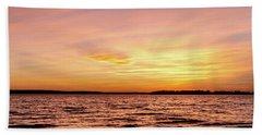 Pink And Yellow Sunset Beach Sheet by Doug Long