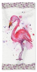Beach Towel featuring the painting Pink Baby Flamingo Watercolor by Irina Sztukowski