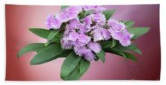 Pink Blooming Plant Beach Towel by Linda Phelps