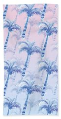 Pink Blue Palm Tree Grove Beach Towel