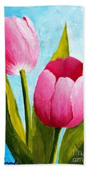 Beach Towel featuring the painting Pink Bubblegum Tulip II by Phyllis Howard