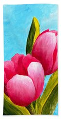 Beach Towel featuring the painting Pink Bubblegum Tulips I by Phyllis Howard