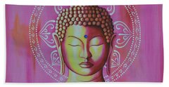 Beach Towel featuring the painting Pink Buddha by Joseph Sonday