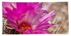 Pink Cactus Flower Beach Sheet