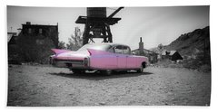 Pink Caddy In The Desert Beach Towel