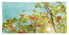 Pink Camellia Japonica Blossoms And Sun In Blue Sky Beach Towel