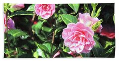 Pink Camellias Beach Towel