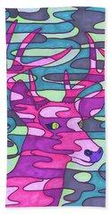 Pink Camo Deer Beach Towel