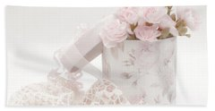 Pink Carnations In Rose Box Beach Towel by Sandra Foster
