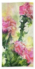 Pink Carnations Beach Towel