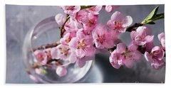 Pink Cherry Blossom Beach Towel by Anastasy Yarmolovich