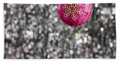 Beach Towel featuring the photograph Pink Christmas Bauble by Ulrich Schade