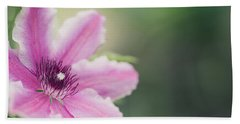 Pink Clematis Beach Sheet by Rebecca Cozart