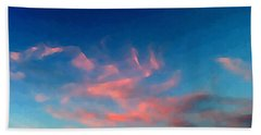 Pink Clouds Abstract Beach Towel