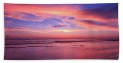Pink Sky And Ocean Beach Towel