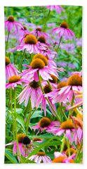 Pink Coneflower Beach Towel