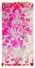 Pink Damask Pattern Beach Towel