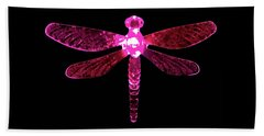 Pink Dragonfly Beach Towel