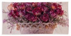 Pink Dried Roses Floral Arrangement Beach Towel