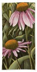 Pink Echinaceas Beach Sheet