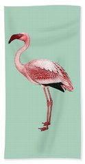 Pink Flamingo Isolated Beach Towel