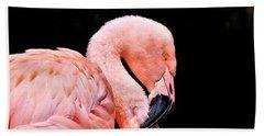 Pink Flamingo On Black Beach Towel