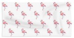 Pink Flamingo Watercolor Pattern Beach Towel