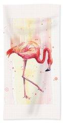 Pink Flamingo Watercolor Rain Beach Towel by Olga Shvartsur