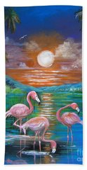 Beach Sheet featuring the painting Pink Flamingos by Patrice Torrillo
