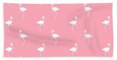 Pink Flamingos Pattern Beach Towel