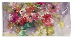 Pink Floral Impressions Beach Towel by Judith Levins