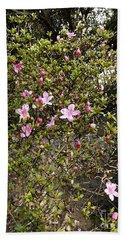 Pink Flower Bush Beach Towel