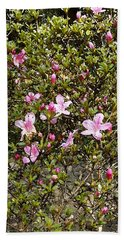 Pink Flower Bush Beach Towel