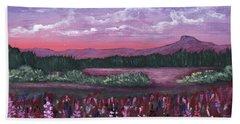 Beach Towel featuring the painting Pink Flower Field by Anastasiya Malakhova