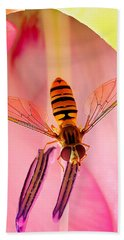 Pink Flower Fly Beach Towel