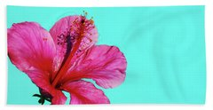 Pink Flower In Water Beach Towel