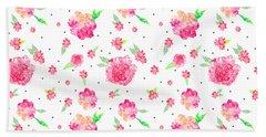 Pink Flower Pattern Beach Towel