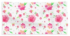 Pink Flower Pattern Beach Towel