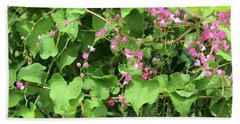 Beach Towel featuring the photograph Pink Flowering Vine1 by Megan Dirsa-DuBois