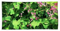 Pink Flowering Vine2 Beach Sheet