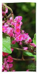 Pink Flowering Vine3 Beach Sheet