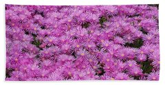 Pink Flowers Field Beach Towel