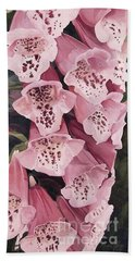 Pink Foxglove Beach Sheet by Laurie Rohner